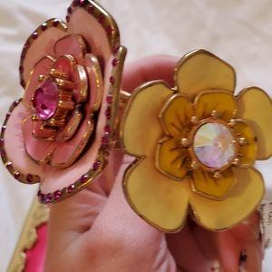 Betsey Johnson Jewelry - Nwt Betsey Johnson Floral Statement Bangle